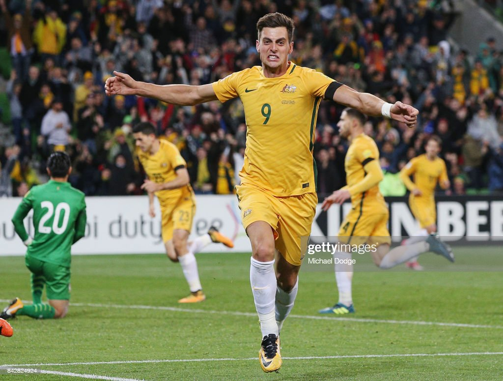 Tomi Juric of the Socceroos celebrates a goal during the 2018 FIFA World Cup Qualifier match between the Australian Socceroos and Thailand at AAMI Park on September 5, 2017 in Melbourne, Australia.