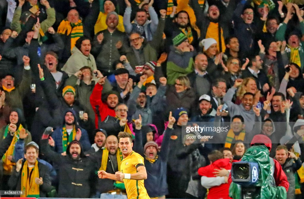 Tomi Juric of the Socceroos celebrates after scoring the first goal during the 2018 FIFA World Cup Qualifier match between the Australian Socceroos and Thailand at AAMI Park on September 5, 2017 in Melbourne, Australia.
