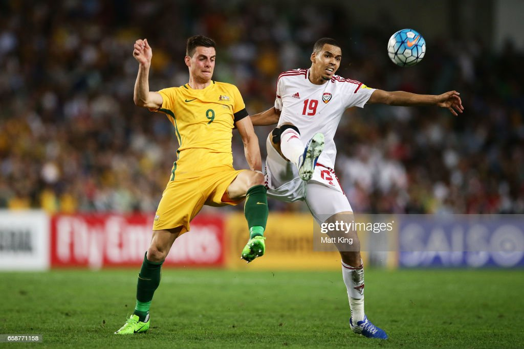 Tomi Juric of the Socceroos competes for the ball against Ismail Ahmed of the United Arab Emirates during the 2018 FIFA World Cup Qualifier match between the Australian Socceroos and United Arab Emirates at Allianz Stadium on March 28, 2017 in Sydney, Australia.