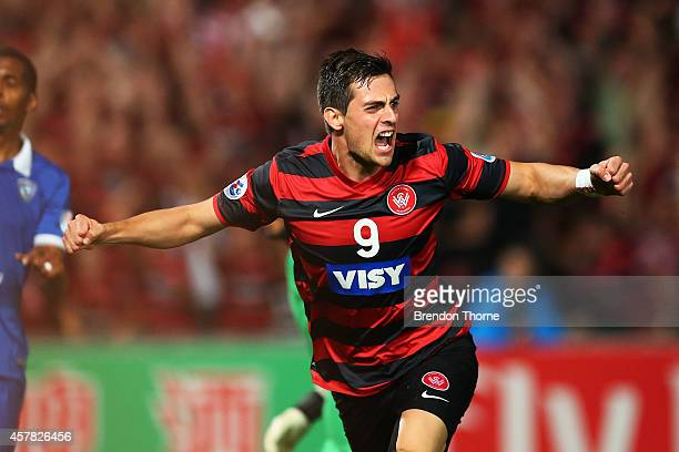 Tomi Juric of the Wanderers celebrates after scoring the opening goal during the Asian Champions League final match between the Western Sydney...