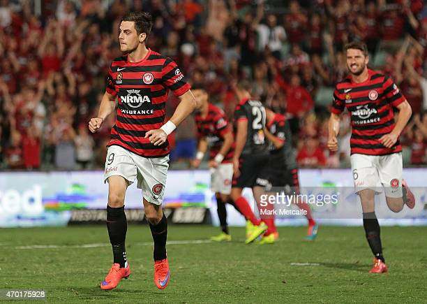 Tomi Juric of the Wanderers celebrates scoring a goal during the round 26 ALeague match between the Western Sydney Wanderers and Adelaide United at...
