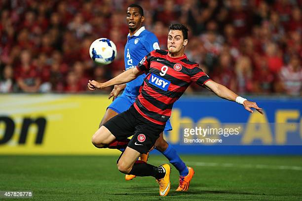 Tomi Juric of the Wanderers shoots for goal and scores during the Asian Champions League final match between the Western Sydney Wanderers and Al...