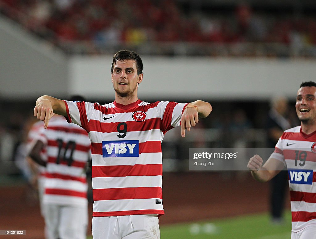 Tomi Juric of Western Sydney Wanderers celebrates scoring a goal during the Asian Champions League Quarter Final match between the Western Sydney Wanderers and Guangzhou Evergrande at Tianhe Sports Center on August 27, 2014 in Guangzhou, China.
