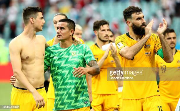 Tomi Juric Tim Cahill and Mile Jedinak of Australia shows appreciation to the fans prior to the 2018 FIFA World Cup Russia group C match between...