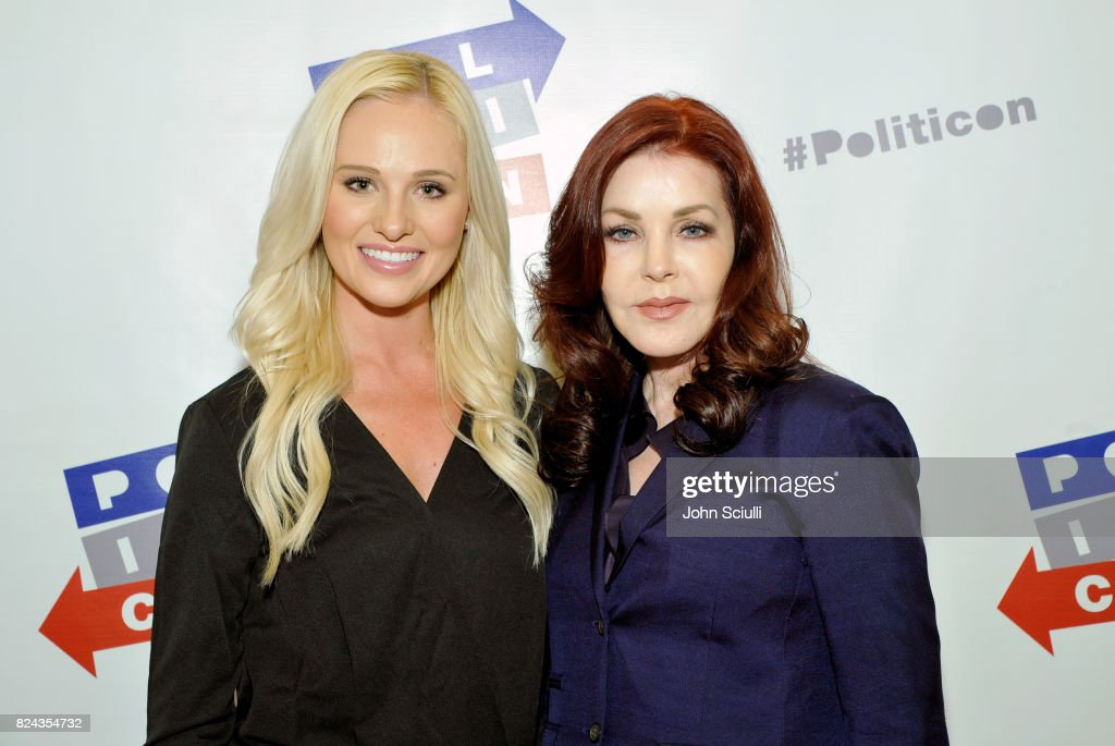 Tomi Lahren (L) and Priscilla Presley at Politicon at Pasadena Convention Center on July 29, 2017 in Pasadena, California.