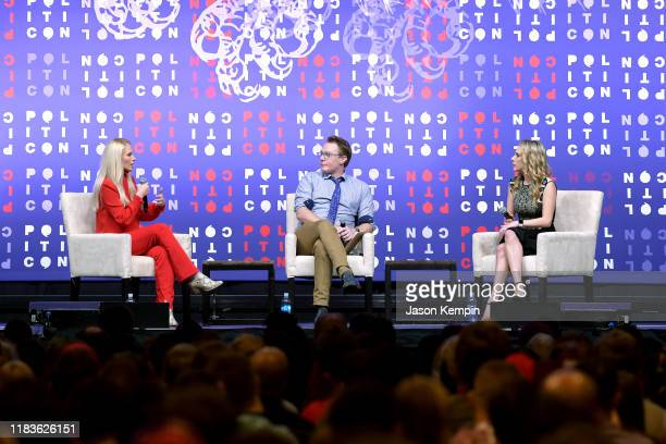 Tomi Lahren Clay Aiken and Ana Kasparian speak onstage during the 2019 Politicon at Music City Center on October 26 2019 in Nashville Tennessee