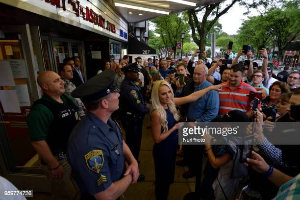 Tomi Lahren conservative political commentator and Fox News contributor greets fans waiting in line outside the Keswick theatre in Glenside PA on May...