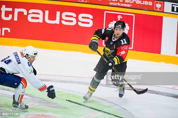 Tomi Leivo of Lappeenranta during the Champions Hockey League Round of 16 match between SaiPa Lappeenranta and Vaxjo Lakers at Kisapuisto on November...