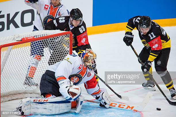 Tomi Leivo of Lappeenranta scores winning goal during the Champions Hockey League Round of 16 match between SaiPa Lappeenranta and Vaxjo Lakers at...