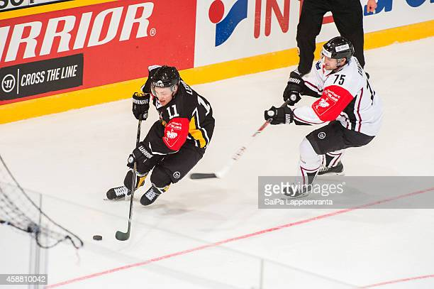 Tomi Leivo of SaiPa during the Champions Hockey League round of 16 second leg game between SaiPa Lappeenranta and Geneve-Servette at Kisapuisto on...