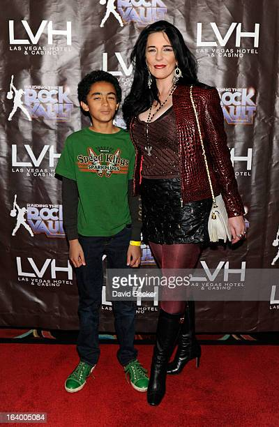Tomi Rae Brown and James Brown Jr arrive at the grand opening of Raiding the Rock Vault at the Las Vegas Hotel Casino on March 18 2013 in Las Vegas...