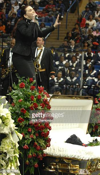 Tomi Rae Hynie James Brown's wife pays her respects to the late James Brown who is lying in repose at the James Brown Arena in Augusta Georgia Brown...