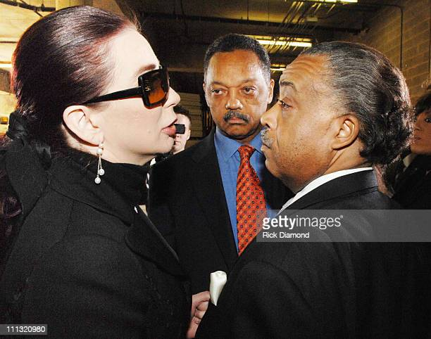 Tomi Rae Hynie Rev Jesse Jackson and Rev Al Sharpton after paying their respects to the late James Brown who is lying in repose at the James Brown...