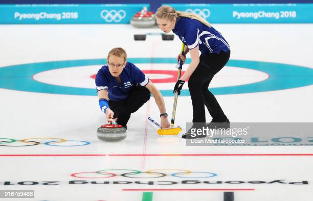 Tomi Rantamaeki and Oona Kauste of Finland compete during the Curling Mixed Doubles on day two of the PyeongChang 2018 Winter Olympic Games at...