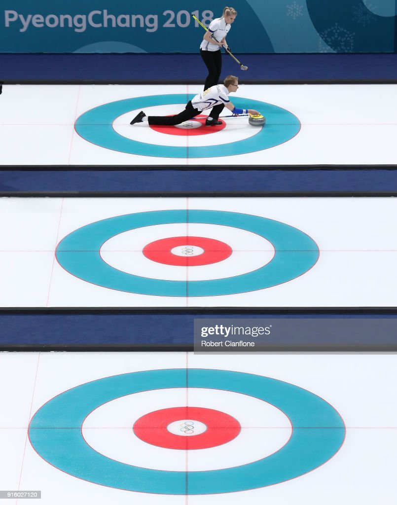 Tomi Rantamaeki and Oona Kauste of Finland deliver a stone during the Curling Mixed Doubles Round Robin match ahead of the PyeongChang 2018 Winter Olympic Games at Gangneung Curling Centre on February 9, 2018 in Gangneung, South Korea.