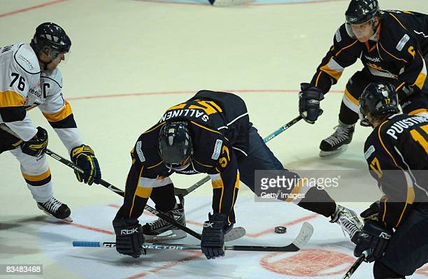 Tomi Sallinen of Espoo Blues tries to save the puck during the IIHF Champions Hockey League match between Espoo Blues and HV71 Jonkoping on October...
