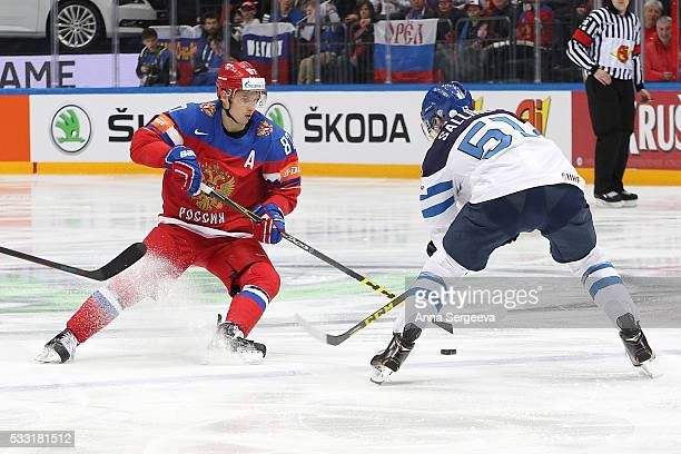 Tomi Sallinen of Finland and Vadim Shipachyov of Russia battle for the puck at Ice Palace on May 21 2016 in Moscow Russia Finland defeated Russia 31
