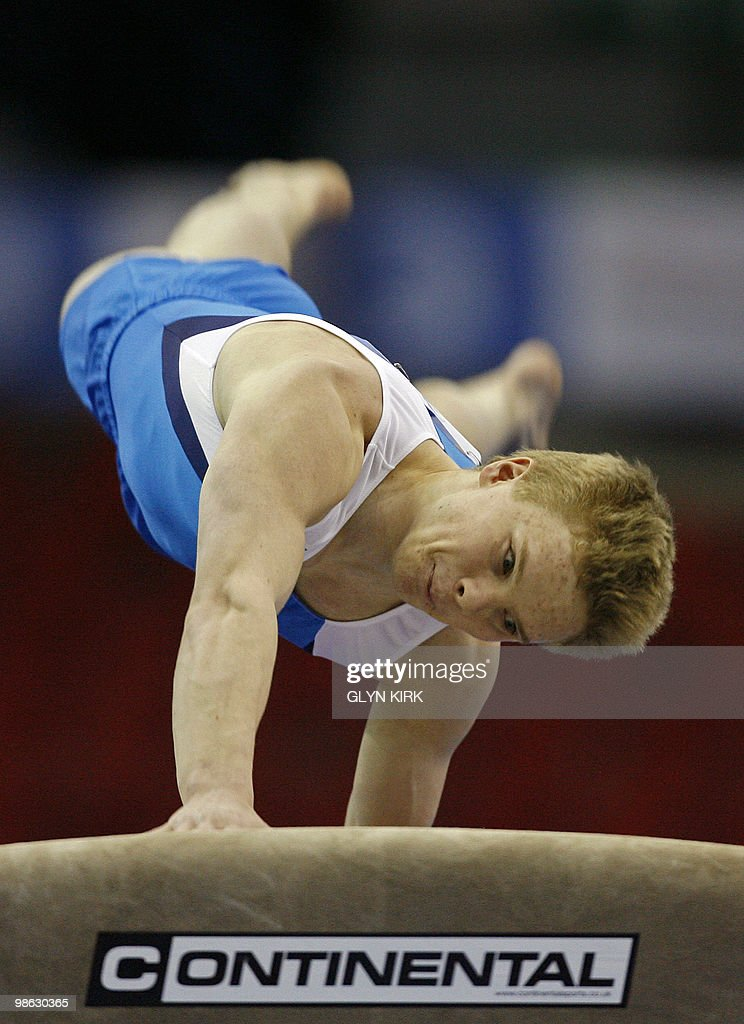 Tomi Tuuha of Finland performs on the Vault during the mens senior qualification round, in the European Artistic Gymnastics Team Championships 2010, at the National indoor Arena in Birmingham, central England on April 23, 2010.