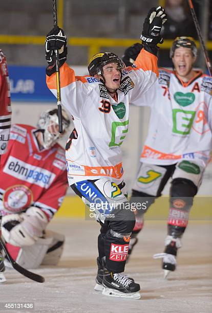 Tomi Wilenius of Graz 99ers celebrates during the action shot on august 17, 2014 in Landshut, Germany.