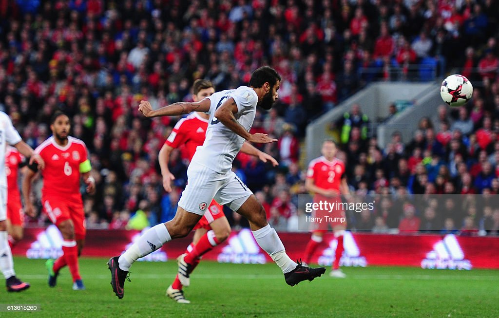 Tomike Okriashvili of Georgia scores his sides first goal during the 2018 FIFA World Cup Qualifier between Wales and Georgia at the Cardiff City Stadium on October 9, 2016 in Cardiff, Wales.