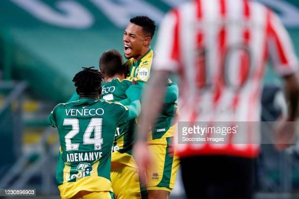 Tomislav Gomelt of ADO Den Haag Celebrates 1-0 with Milan van Ewijk of ADO Den Haag, Bobby Adekanye of ADO Den Haag during the Dutch Eredivisie match...