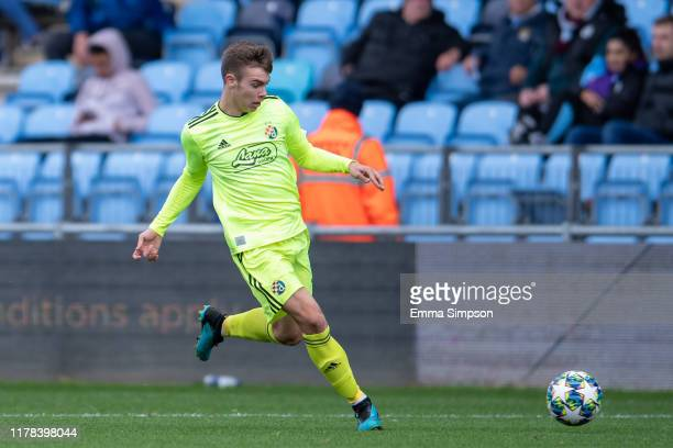 Tomislav Krizmanić of Dinamo Zagreb in action during the UEFA Youth League match between Manchester City and Dinamo Zagreb at Manchester City...
