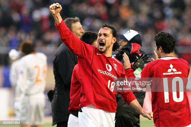 Tomislav Maric of Urawa Red Diamonds celebrates winning the 85th Emperor's Cup final match between Urawa Red Diamonds and Shimizu SPulse at the...