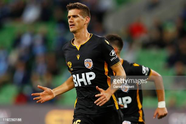 Tomislav Mrcela of the Glory celebrates a goal during the round nine ALeague match between Melbourne City and the Perth Glory at AAMI Park on...