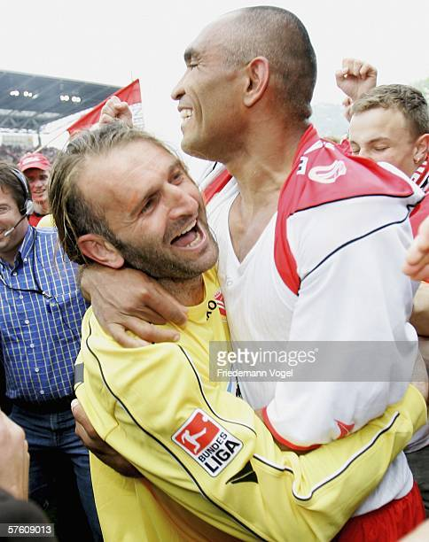 Tomislav Piplica and Vragel da Silva of Cottbus celebrates after the winning Second Bundesliga match between Energie Cottbus and 1860 Munich at the...