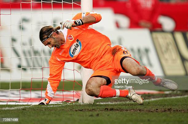Tomislav Piplica, goalkeeper of Cottbus, reacts after failing to save the 2nd goal during the Bundesliga match between Energie Cottbus and Schalke 04...