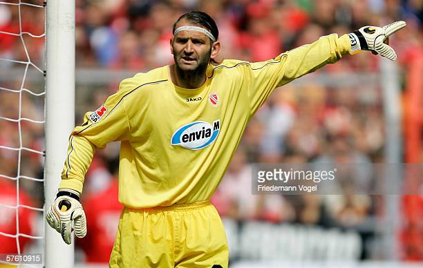 Tomislav Piplica of Cottbus gestures during the winning Second Bundesliga match between Energie Cottbus and 1860 Munich at the Stadion der...