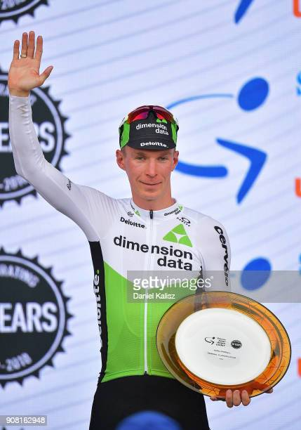 TomJelte Slagter of Netherlands and Team Dimension Data celebrates on the podium after stage six of the 2018 Tour Down Under on January 21 2018 in...