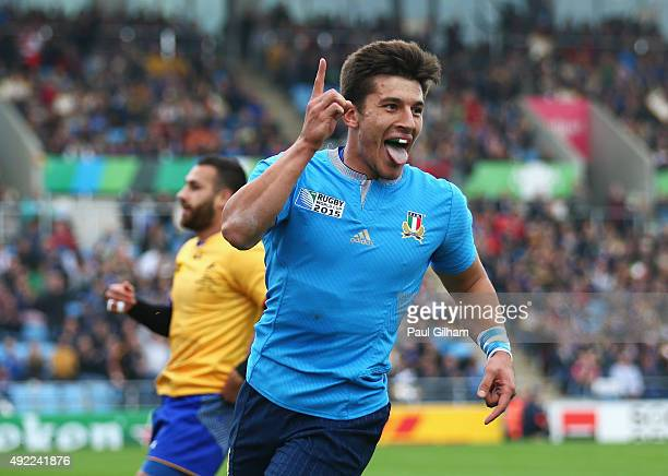 Tommaso Allan of Italy celebrates scoring their third try during the 2015 Rugby World Cup Pool D match between Italy and Romania at Sandy Park on...