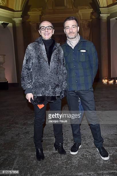 Tommaso Aquilani and Roberto Rimondi attends Vogue Cocktail Party honoring photographer Mario Testino on February 27 2016 in Milan Italy