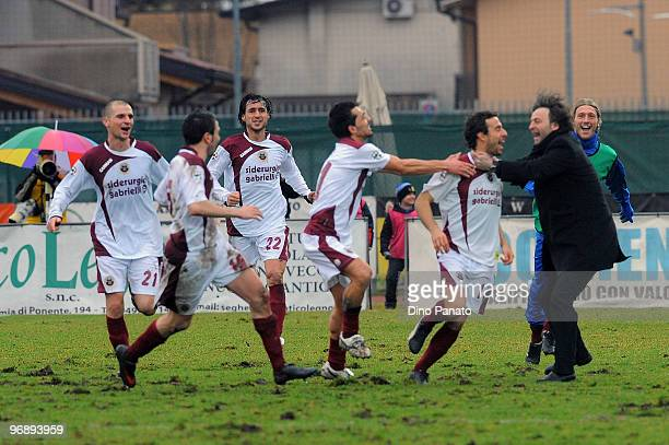 Tommaso Bellazzani of Cittadella celebrates after scoring his first goal during the Serie B match between AS Cittadella and Reggina Calcio at Stadio...