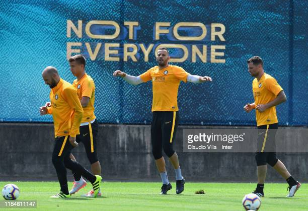 Tommaso Berni Filip Stankovic Samir Handanovic and Daniele Padelli of FC Internazionale in action during a training session on July 8 2019 in Lugano...