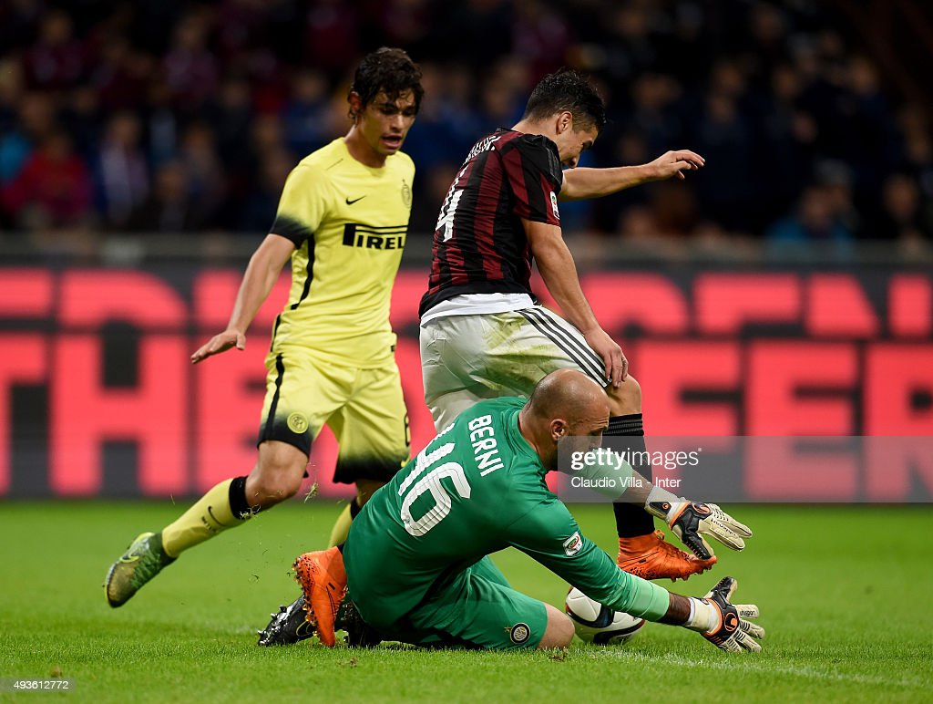 Tommaso Berni of FC Internazionale #46 in action during the Berlusconi Trophy match between AC Milan and FC Internazionale at Stadio Giuseppe Meazza on October 21, 2015 in Milan, Italy.