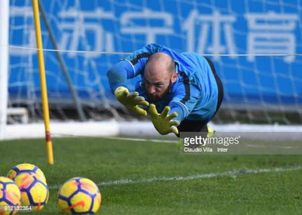 Tommaso Berni of FC Internazionale in action during the FC Internazionale training session at Suning Training Center at Appiano Gentile on January 30...