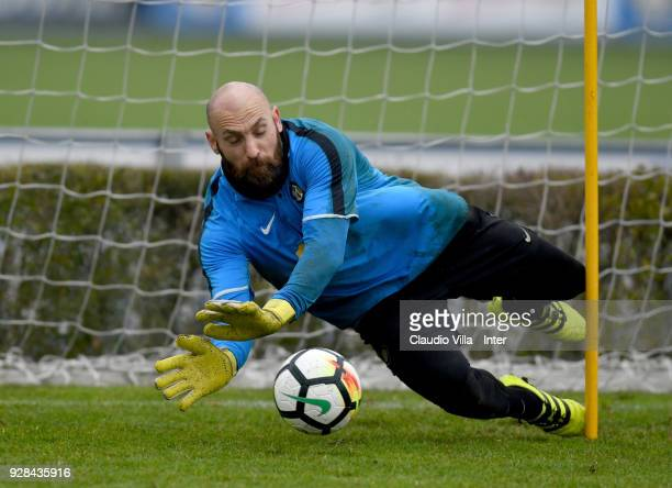 Tommaso Berni of FC Internazionale in action during the FC Internazionale training session at the club's training ground Suning Training Center in...