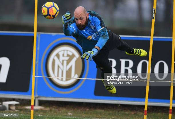 Tommaso Berni of FC Internazionale looks on during the FC Internazionale training session at Suning Training Center at Appiano Gentile on January 14...