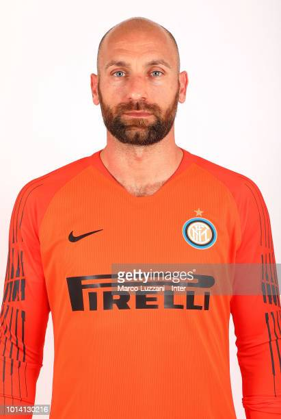 Tommaso Berni of FC Internazionale poses with the club shirt at the club's training ground Suning Training Center in memory of Angelo Moratti on July...