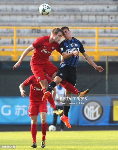 Tommaso Brignoli of FC Internazionale competes for the ball during the UEFA Youth League Domestic Champions Path match between FC Internazionale and...