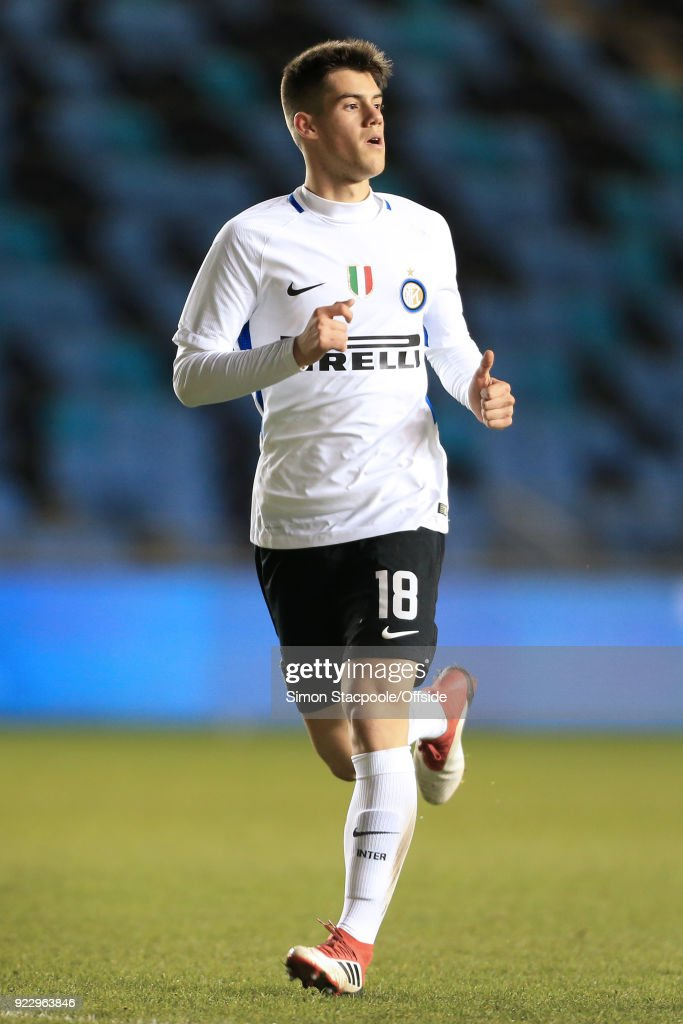 Tommaso Brignoli of Inter in action during the UEFA Youth League Round of 16 match between Manchester City and Inter Milan at Manchester City Football Academy on February 20, 2018 in Manchester, England.