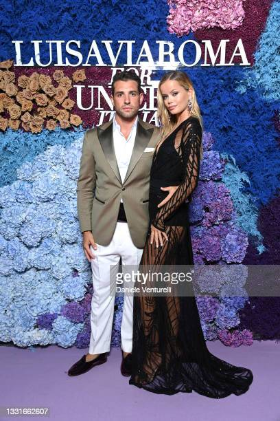 Tommaso Chiabra and Frida Aasen attend the LuisaViaRoma for Unicef event at La Certosa di San Giacomo on July 31, 2021 in Capri, Italy.