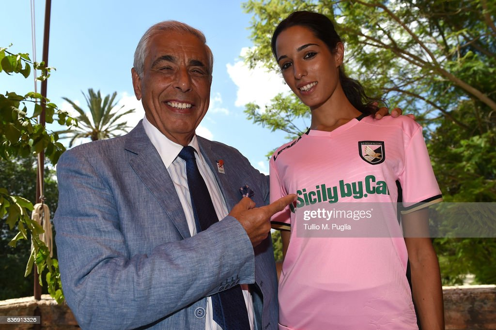 Tommaso Dragotto of Sicily by Car poses during the presentation of Sicily by Car as new main sponsor of US Citta' di Palermo at Villa Niscemi on August 22, 2017 in Palermo, Italy.