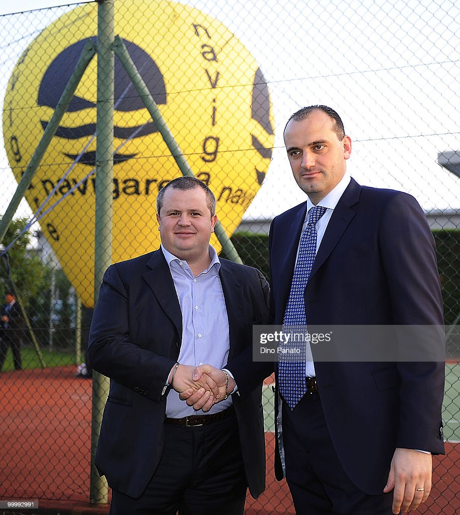 Tommaso Ghirardi (L) president of FC Parma and Massimo Brunetti president of Navigare attend a press conference to announce the renewal of their sponsorship deal on May 19, 2010 in Rio Saliceto near Carpi, Italy.