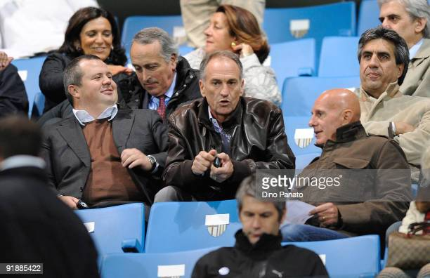 Tommaso Ghirardi President of Parma head coach of Parma Francesco Guidolin and Arrigo Sacchi attend the FIFA2010 World Cup Group 8 Qualifier match...