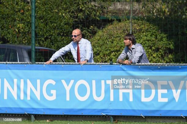 Tommaso Giulini and Andrea Conti look on during Fc Internazionale U19 V Cagliari U19 match at Stadio Breda on September 14 2018 in Sesto San Giovanni...