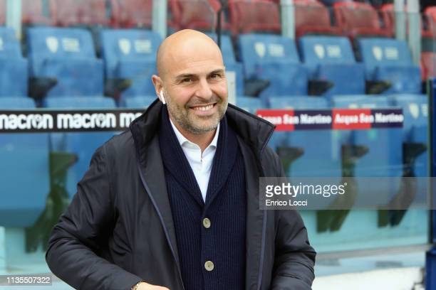 Tommaso Giulini president of Cagliari looks on during the Serie A match between Cagliari and SPAL at Sardegna Arena on April 7 2019 in Cagliari Italy