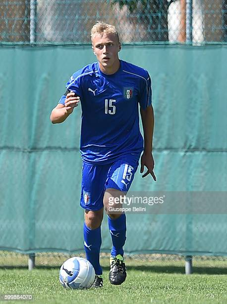 Tommaso Merletti of Italy U16 in action during the friendly match between AC Cesena U16 and Italia U16 at on August 26 2016 in Cesena Italy